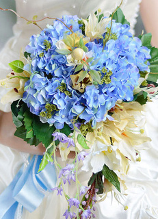 Light Sky Blue Synthetic Hand-tied Wedding Bouquets