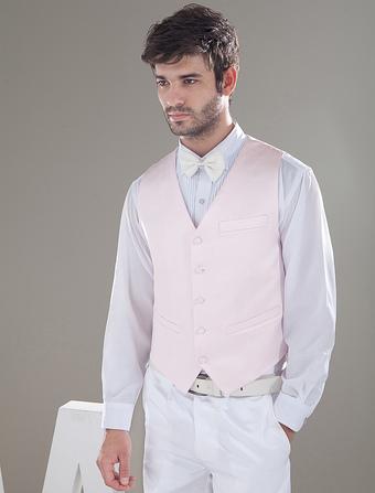 Modern Pink Satin Buttons V-Neck Tailored Wedding Groom Vest