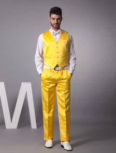 Unique Daffodil Satin Buttons V-Neck Tailored Wedding Groom Vest