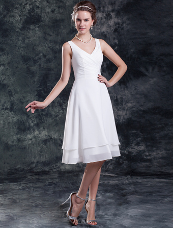 White Wedding Dress Knee-Length Tiered Ruched Chiffon Wedding Gown