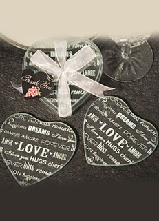 Wishes Heart Glass Coaster Set (Set Of 2)