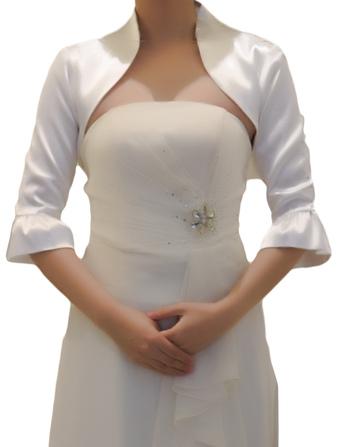 Half Sleeves Satin Wedding Jacket For Bride