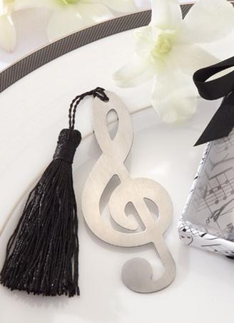 Musical Note Brushed Metal Openwork Bookmark with Elegant Silk Tassel