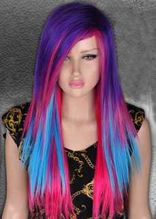 Multi Color Long Straight Synthetic Carnival wig