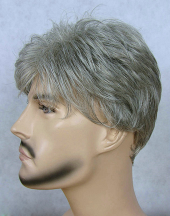 Classic Gray Short Straight Synthetic Wig For Men