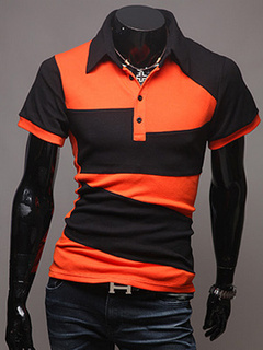 Split Color Polo Shirt With Short Sleeves