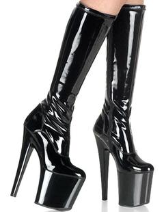 Botas de plataforma alta de rodilla longitud Sexy tacones botas negras patente Club zapatos S3SEFA6