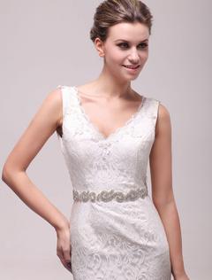 Glamour Ivory Rhinestone Medium Pretty Bridal Wedding Sash