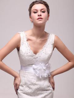 White Flower Medium Wedding Sash For Bride