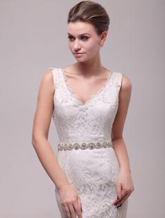 White Rhinestone Narrow Bridal Wedding Sash