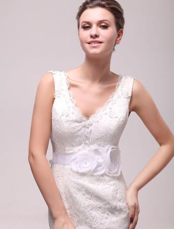Amazing Shiny White Pearls Medium Wedding Sash For Bride