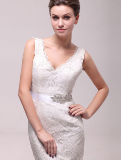 Stylish Ivory Rhinestone Medium Charming Bridal Wedding Sash
