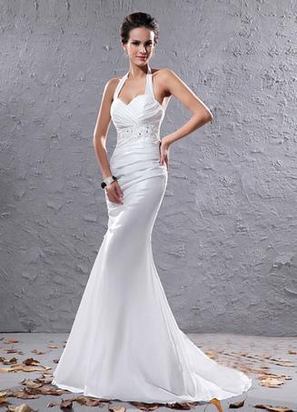 3340822c446 Robe mariée magnifique sirène blanche effet encolure coeur en organza avec  plissement