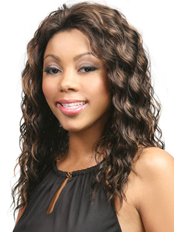 Brown Curly Synthetic Medium Wig