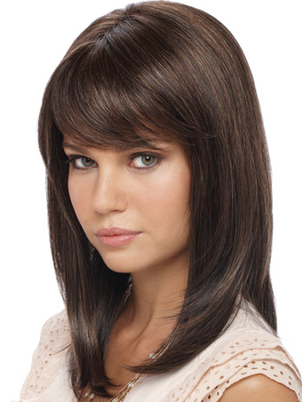 Light Brown Shoulder Length Straight Synthetic Wig