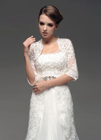 Ivory Lace Tulle Wedding Bridal Shawl