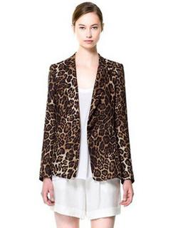 Stylish Brown Leopard Print Cotton Blend Women's Blazer