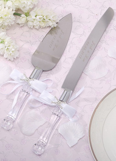 Quality White Glass Bow Serving Set for Wedding