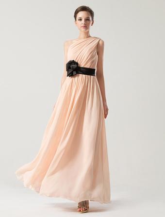 A-line One-Shoulder Sash Chiffon Bridesmaid Dress