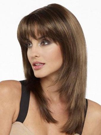 Women's Medium Wigs Straight Wigs With Bangs Light Brown Wig In Heat-resistant Fiber