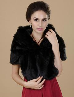 Black Faux Fur Bridal Wedding Shawl