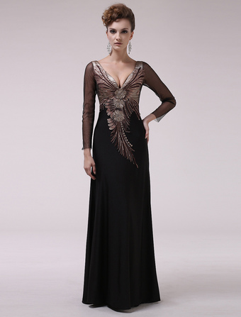 Black V-Neck Embroidered A-line Long Sleeves Evening Dress Milanoo wedding guest dress