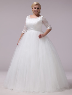 f618b97913cda 32%OFF. Plus Size Wedding Dresses Tulle Lace Half Sleeve Bridal Gown Ivory  A Line Round Neck Back