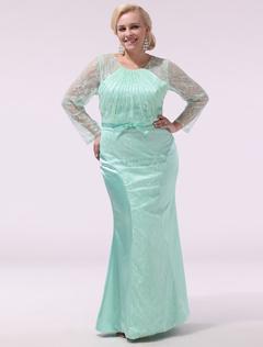 023a3e545d80 Robe de soirée vert menthe sirène col rond avec noeud longueur plancher  Milanoo