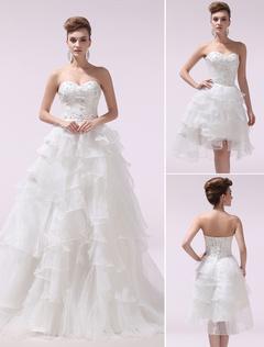 Ivory A-line Sweetheart Beading Organza Wedding Dress with Detachable Panel Train Milanoo