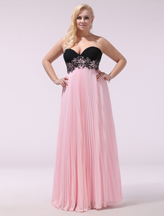 f582eb51e9590 Plus Size Prom Dresses Pink Strapless Sweetheart Neckline Formal Dress  Pleated Chiffon Floor Length Evening Dress