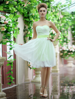 Lime Green Strapless Sash Bow Lace Up Organza Bridesmaid Dress  Milanoo