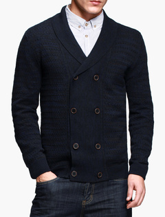 Black Double Breasted Solid Color Knitted Cotton Cardigan For Men