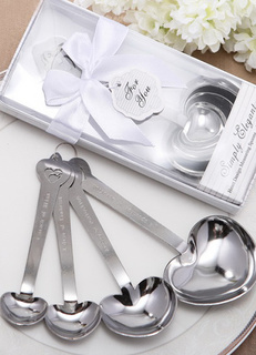 Silver Heart Shaped Metal Spoons for Wedding
