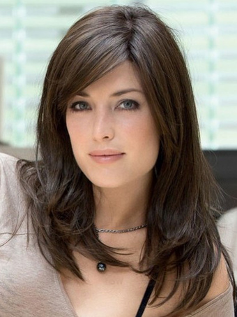 Deep Brown Side Parting Chic Heat-resistant Fiber Medium Wig For Woman