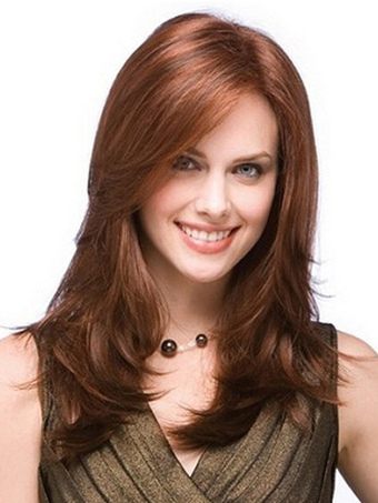 Mahogany Medium Side Parting Heat-resistant Fiber Medium Wig For Women
