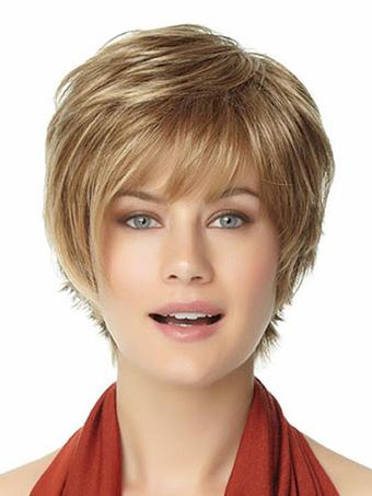 Gold Heat-resistant Fiber Beautiful Short Wig For Woman