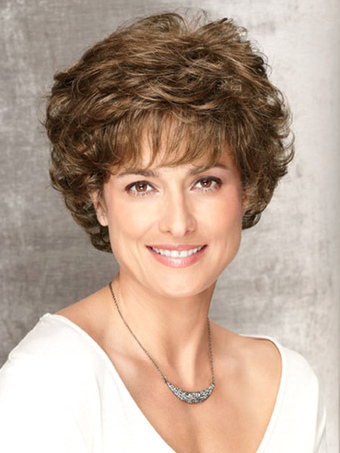 Beautiful Light Brown Curly Heat-resistant Fiber Short Wig For Woman
