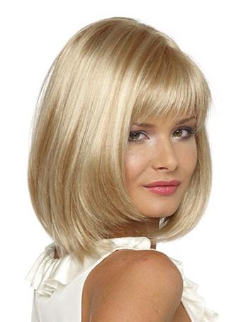 Women Blonde Wig Layered Blunt Fringe Straight Shoulder Length Wig