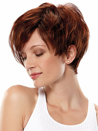 Attractive Mahogany Side Parting Heat-resistant Fiber Woman's Short Wig