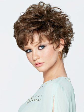 Light Brown Heat-resistant Fiber Curly Quality Short Wig For Woman