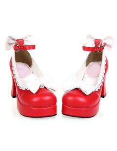 Zapatos de lolita de PU de puntera cuadrada para ocasión informal nixJfkMa
