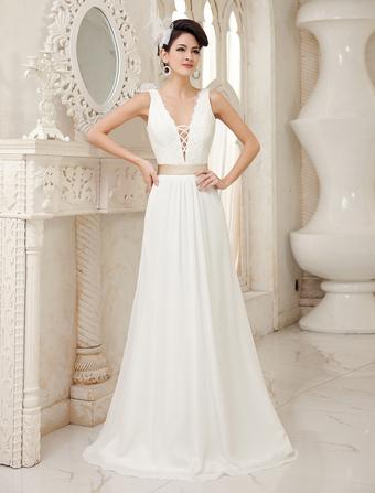 Ivory A-line V-Neck Sash Floor-Length Beach Bridal Gown Milanoo