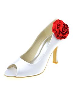 Chaussure de mariée en soie et satin blanche à bout ouvert ornée de fleur  rouge