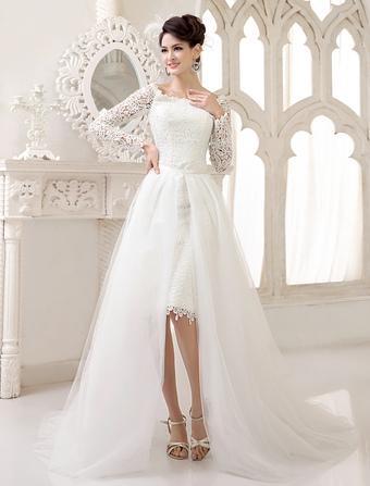 Grace Ivory Bateau Neck Cut Out Lace Destination Wedding Dress Milanoo