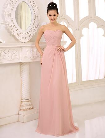 cef2af7d5d Vestidos de dama de honor Vestido largo sin tirantes rosado de la fiesta de  bodas Vestido