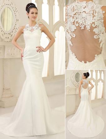 b2fa5b614 Vestidos de novia barato 2019 sirena vestido de novia apliques de encaje  satinado ilusión ojo de
