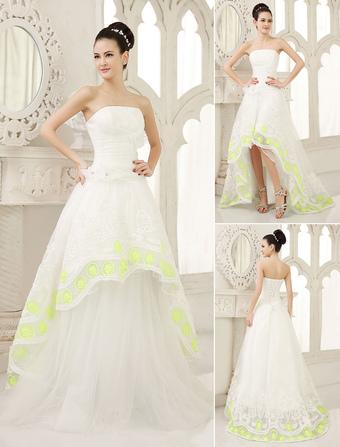 Ivory A-line Strapless Flower Asymmetrical Bridal Wedding Dress  Milanoo