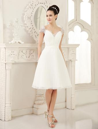 Ivory A-line V-Neck Ruched Knee-Length Destination Wedding Dress  Milanoo