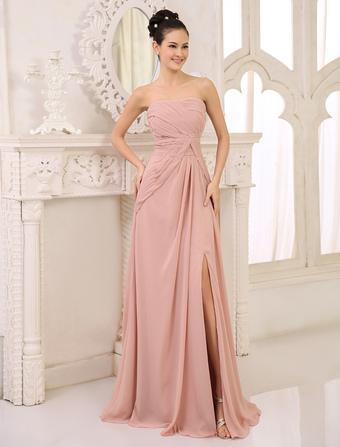 644d1a20a6fa Abito da damigella d onore in chiffon rosa arricciato abito da ballo senza  spalline in. Anteprima Lista dei desideri