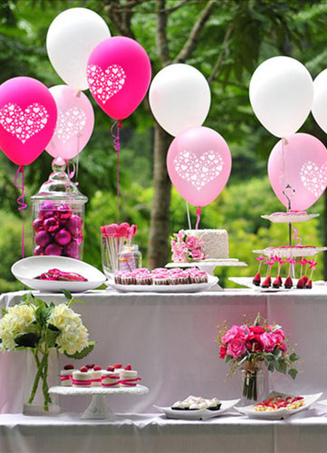 100-Piece Cute Heart Print Wedding Balloons